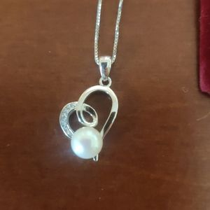 Pearl heart silver necklace Halzberg